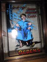 LARGE VINTAGE OGDENS TOBACCO MIRRORED SIGN WITH WOODEN FRAME  *D