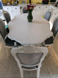 French Louis, shabby chic style table and six chairs