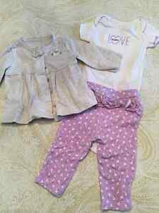 3 Month Carters onesie, ruffle pant and snap jacket