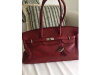 Birkin inspired leather classic bag
