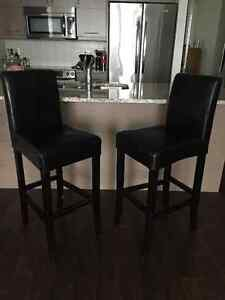 URBAN BARN - Two Leather Bar Stools