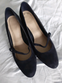 Mark's and Spencer navy blue suede wide fitting slip on shoe