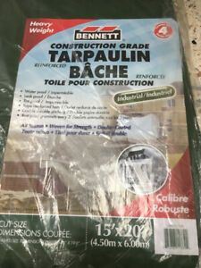 Tarpaulins (intact; used) for painting, roofing, construction