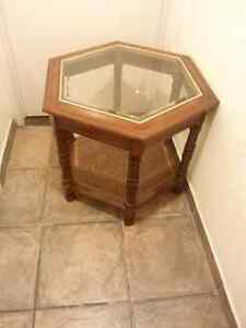 Antique Wicker and Beveled Glass Coffee End Table