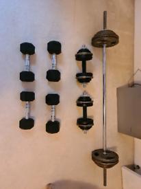 Weights 80kg 6ft barbell, dumbells: 2x5kg, 2x7kg, 2x11kg, bar 27.5kg