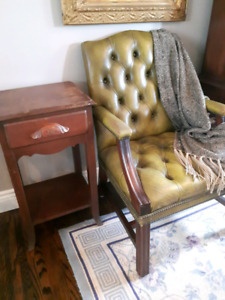 Antique Table and Leather Chair