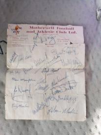 Signed motherwell football sheet 1979