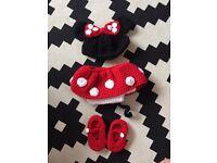 Hand crochet mini mouse set - newborn