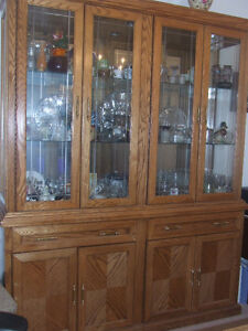 Solid Oak 2-Piece China Cabinet - Excellent Condition