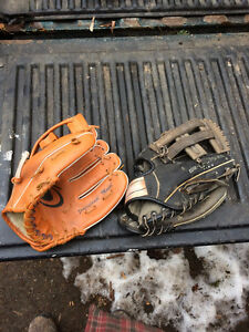Two kids LH base ball gloves