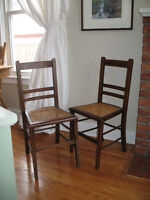 Pair of Antique, inlay work, woven seat Accent Chairs,
