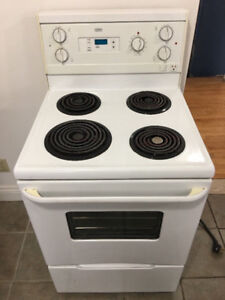 "Roper white 24"" white electric coil stove 4 restricted places"