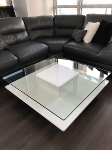 Glass and White Square Coffee Table