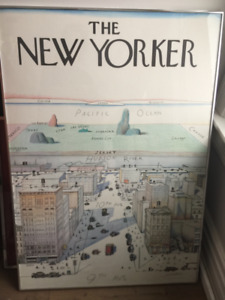 New Yorker cover 'View of the World' framed poster