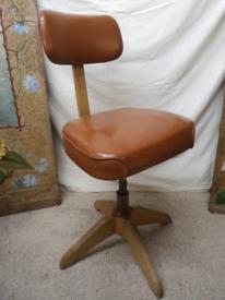 Rare 1940s Der Federdreh Adjustable Desk Chair