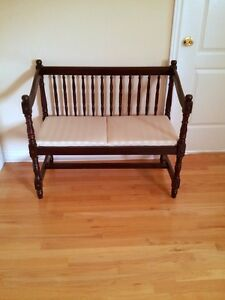 LIKE NEW WOODEN BENCH 2-SEATER CUSHIONED SEAT