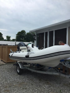13ft Inflatable on Trailer with 30HP 4 stroke Yamaha
