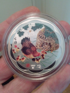 LARGE 45mm 2017 YEAR OF THE CHICKEN CHINESE LUNAR ZODIAC COIN.