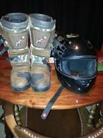 Fuel xl helmet and size 12 MXR riding boots
