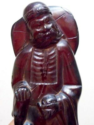 Antique Cherry Amber bakelite Carved Figurine Statuette 320g bakalit الباكل