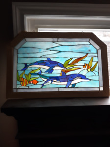 COLORED GLASS WINDOW HANGER DOLPHINS THEMED
