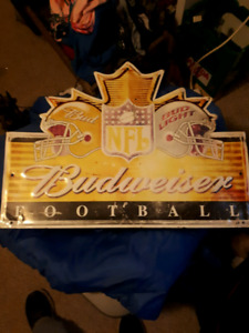 NFL Metal Budweiser Sign