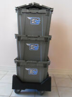 MOVING BOXES FOR RENT. RENTAL MOVING BINS ON DOLLIES