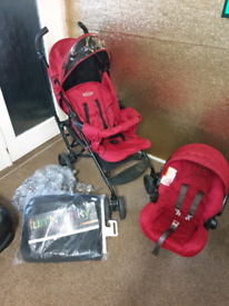 Red graco pushchair/car seat £40