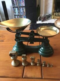 set of vintage style scales and weights
