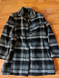 Womens large black and white plaid coat