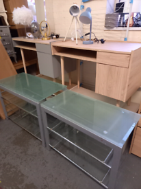 Desks glass £50. Wooden £65. Assembled ex display. RBW Clearance Outle