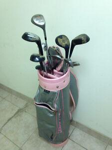 Spalding bag and asstd. clubs