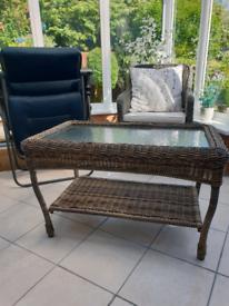 Rattan style class top coffee table