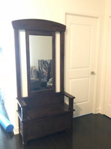 Rustic Front Foyer Shoe Bench, Mirror & Storage - $125 OBO