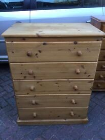 LARGE BARE PINE CHEST OF DRAWERS