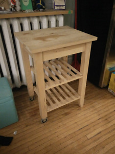 Wood Kitchen cart with wheels
