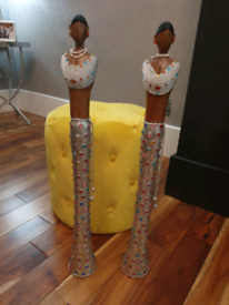 Two tall ladies, ornaments, silver & colourful beads