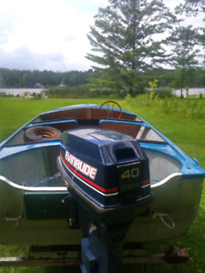Aluminum boat and Evinrude 40 hp