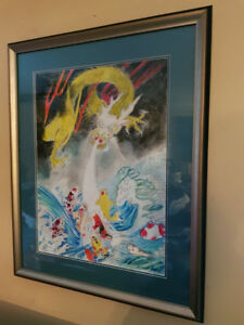 Framed and Matted Original Dragon Painting