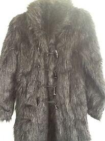 Black goth fur coat worn once