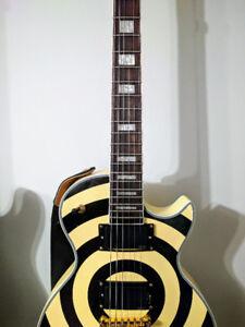 Zakk Wylde Replica Les Paul Custom Guitar w/ Real EMG PickUps