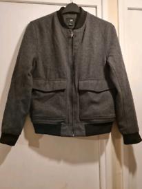 Men's Teen's Grey Wool and Black Design Warm Casual Smart Jacket S