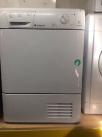 White hotpoint 8kg condenser dryers good condition with guarantee bargain