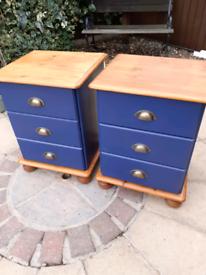 Bedside pine drawers