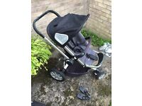 Quinny buzz pram , carry cot and rain cover