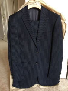 Mens Suit - Navy Blue Pinstripe - Like New