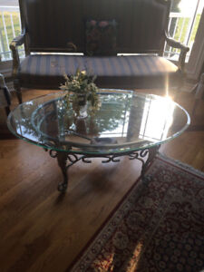Glass and metal oval coffee table