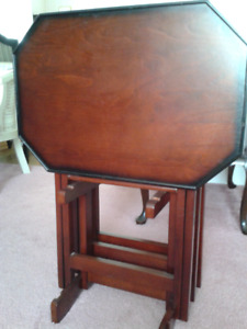 SET OF MAHOGANY TRAY TABLES BY BOMBAY