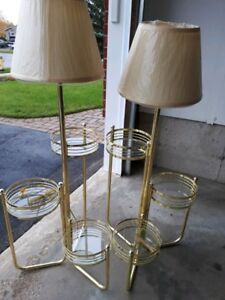Standing lamps with glass shelves