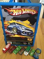 Hot Wheels cars and carrying case